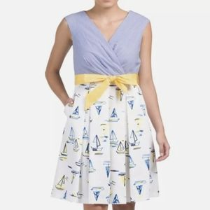 Chetta B Sailboat Fit Flare Vintage Inspired Dress